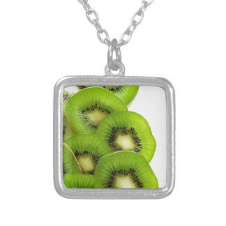 Green Kiwi Fruit Slices  - Fruit Print Square Pendant Necklace