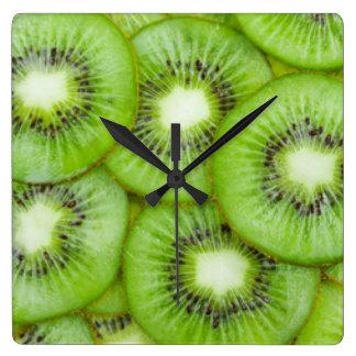 Green Kiwi Fruit Square Wall Clock