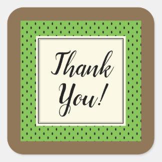 Green kiwi pattern thank you envelope sticker