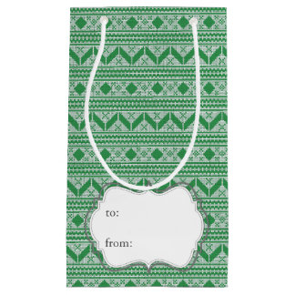 Green Knit Jumper ugly Sweater Pattern Small Gift Bag