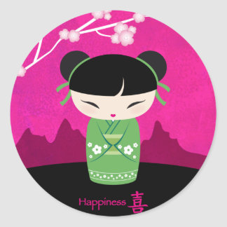 Green kokeshi sticker