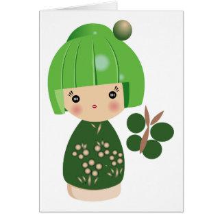 Green Kokeshi Triplet Card