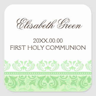 Green lace damask first communion envelope seal square sticker