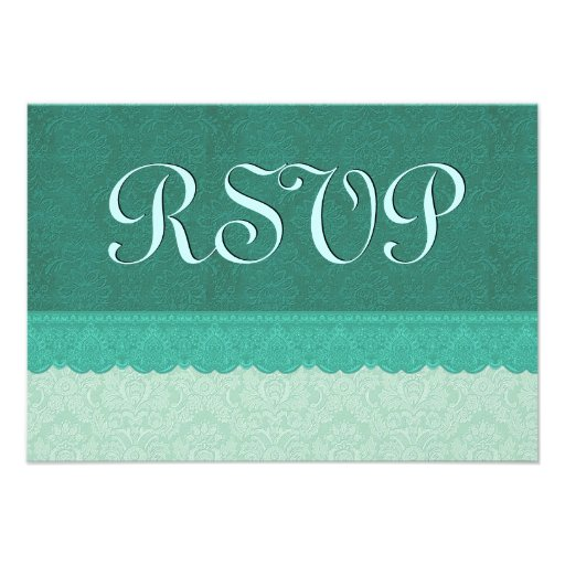 Green Lace Damask RSVP Wedding Ver9 Personalized Invitations