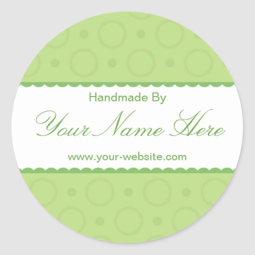 Green Lace Handmade By Personalised Stickers