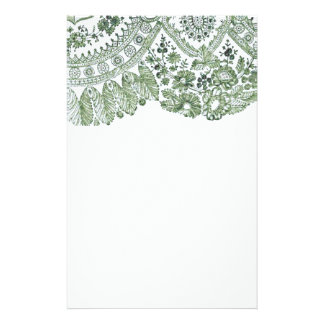 Green Lace Personalized Stationery