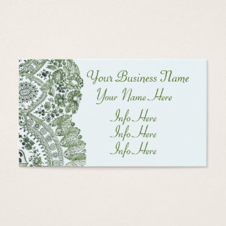 Green Lace Roses Business Card