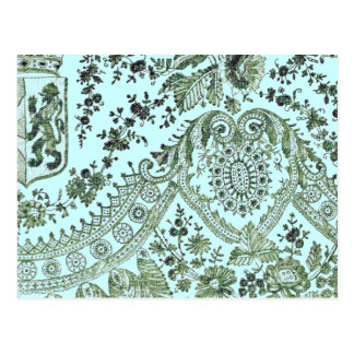 Green Lace Roses Postcard
