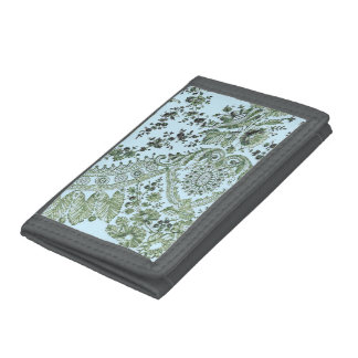 Green Lace Roses Tri-fold Wallets