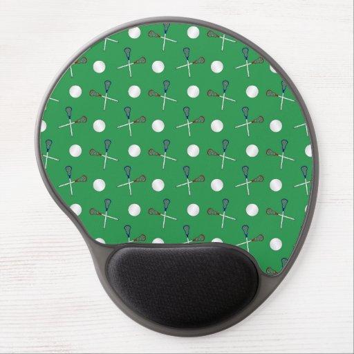 Green lacrosse pattern gel mouse mat