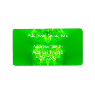 Green Lady Slipper Orchid Fractal Address Label