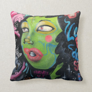Green lady street art / grafitti throw pillow
