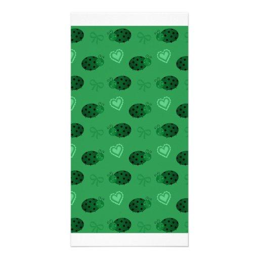 Green ladybugs hearts bows pattern customized photo card