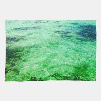 Green lagoon tea towel