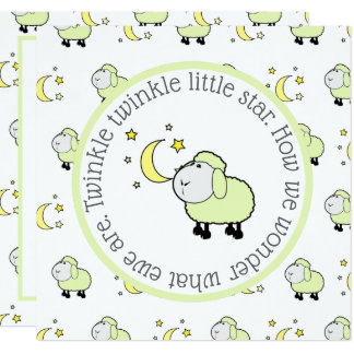 Green Lamb with Moon and Stars Gender Reveal Party Card