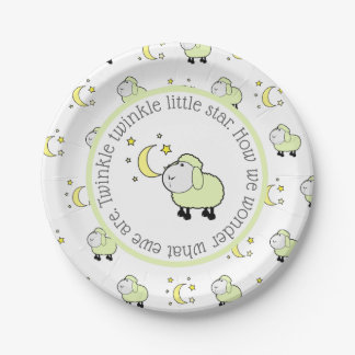 Green Lamb with Moon and Stars Gender Reveal Party Paper Plate