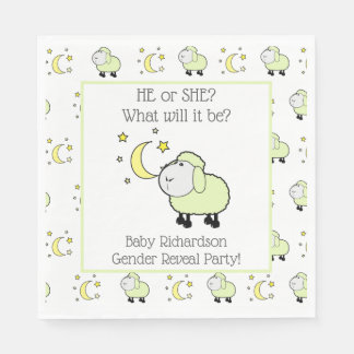 Green Lamb with Moon and Stars Gender Reveal Party Paper Serviettes
