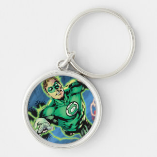 Green Lantern and The Flash Panel Silver-Colored Round Key Ring