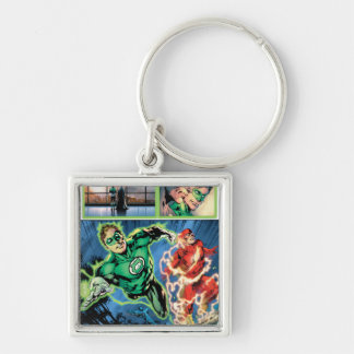 Green Lantern and The Flash Panel Silver-Colored Square Key Ring