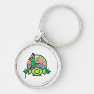 Green Lantern & Cityscape Silver-Colored Round Key Ring