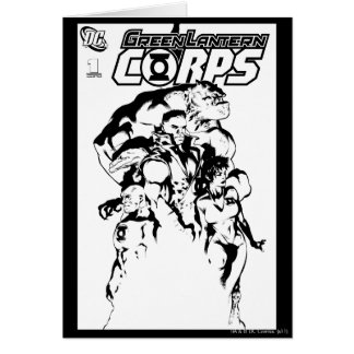Green Lantern Corps, Black and White Greeting Card