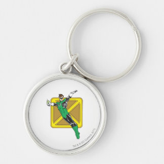 Green Lantern Extends Arms Silver-Colored Round Key Ring