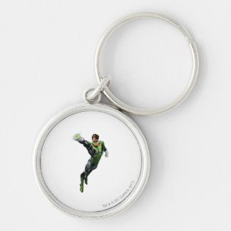 Green Lantern - Fully Rendered,  Arm out Silver-Colored Round Key Ring