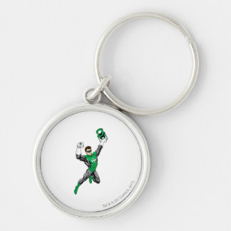 Green Lantern - Fully Rendered,  with lantern Silver-Colored Round Key Ring