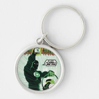 Green Lantern - Glowing Lantern Silver-Colored Round Key Ring