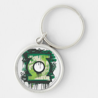 Green Lantern Graffiti Symbol Silver-Colored Round Key Ring