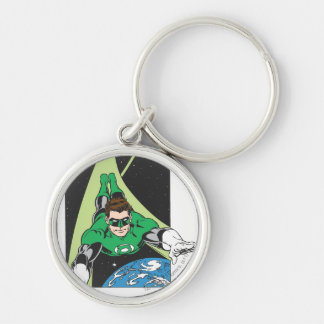 Green Lantern in Space Silver-Colored Round Key Ring