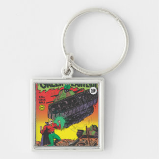 Green Lantern in the trenches Silver-Colored Square Key Ring
