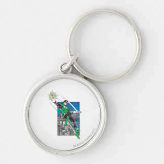 Green Lantern Lands in City Silver-Colored Round Key Ring
