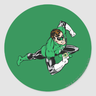 Green Lantern Leap Right Classic Round Sticker