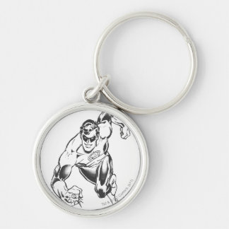Green Lantern Leaps Forward Silver-Colored Round Key Ring