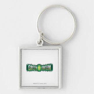 Green Lantern Logo - Green Flames Silver-Colored Square Key Ring