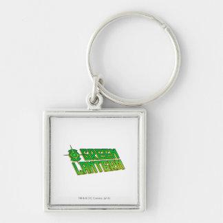 Green Lantern Logo - Slanted Silver-Colored Square Key Ring
