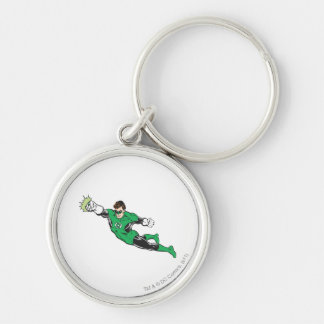 Green Lantern Punches Silver-Colored Round Key Ring
