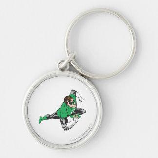 Green Lantern Runs Silver-Colored Round Key Ring