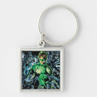 Green Lantern Surrounded - Color Silver-Colored Square Key Ring