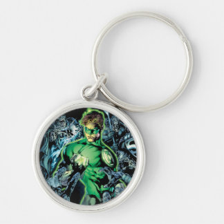 Green Lantern Surrounded - Color Silver-Colored Round Key Ring