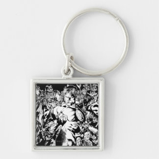 Green Lantern Surrounded Silver-Colored Square Key Ring