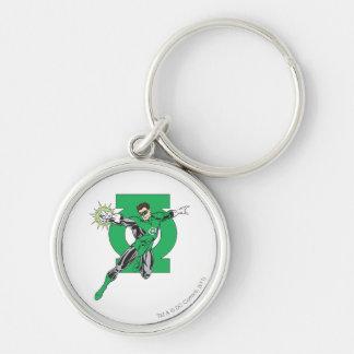 Green Lantern & Symbol Silver-Colored Round Key Ring