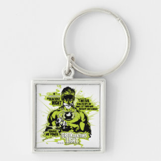 Green Lantern Text Collage - Color Silver-Colored Square Key Ring
