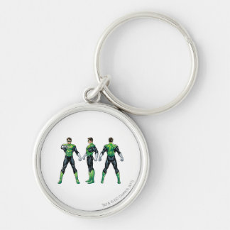 Green Lantern Three Views Silver-Colored Round Key Ring
