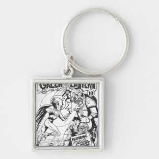 Green Lantern vs The Wizard of Odds, Black Silver-Colored Square Key Ring