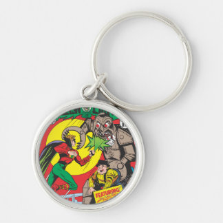 Green Lantern vs The Wizard of Odds Silver-Colored Round Key Ring