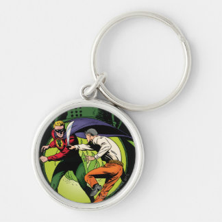 Green Lantern with cape in fight Silver-Colored Round Key Ring