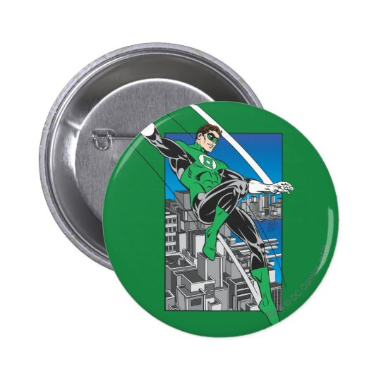 Green Lantern with City Background 6 Cm Round Badge