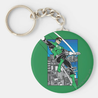 Green Lantern with City Background Basic Round Button Key Ring